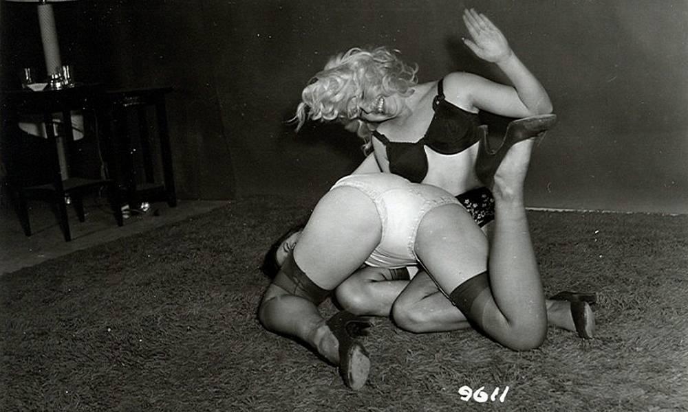happy lesbian spanking