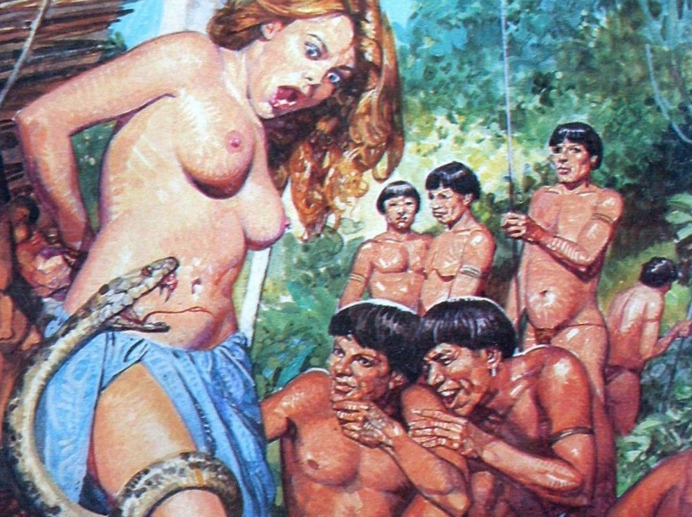 atrocita in amazonia - pretty nude and naked woman tied to a tree as a snake climbs her body and amazon tribesmen watch and laugh