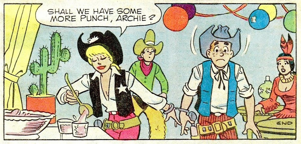 betty has archie in her handcuffs at a costume party