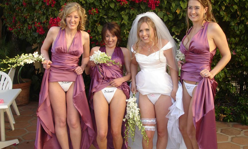 drunken bride and bridesmaids flashing their panties