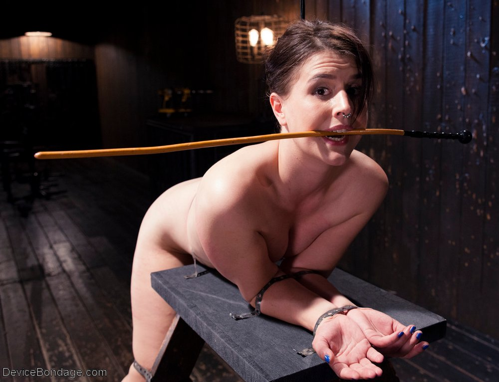Katherine Cane about to be caned