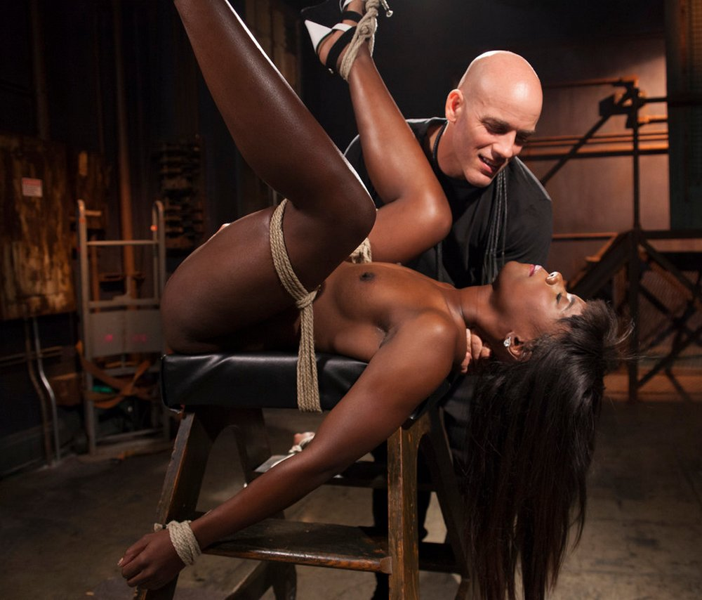ebony beauty is the bondage sex captive of a scary white bald dude