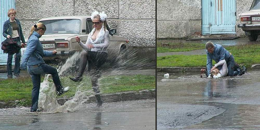 russian women get in a mud puddle stomping catfight