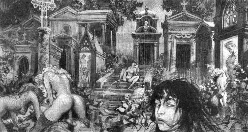 an orgy in a cemetery