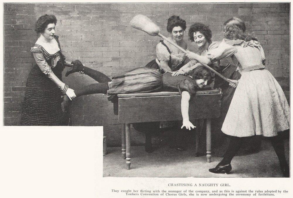 broom spanking for a slutty chorus girl