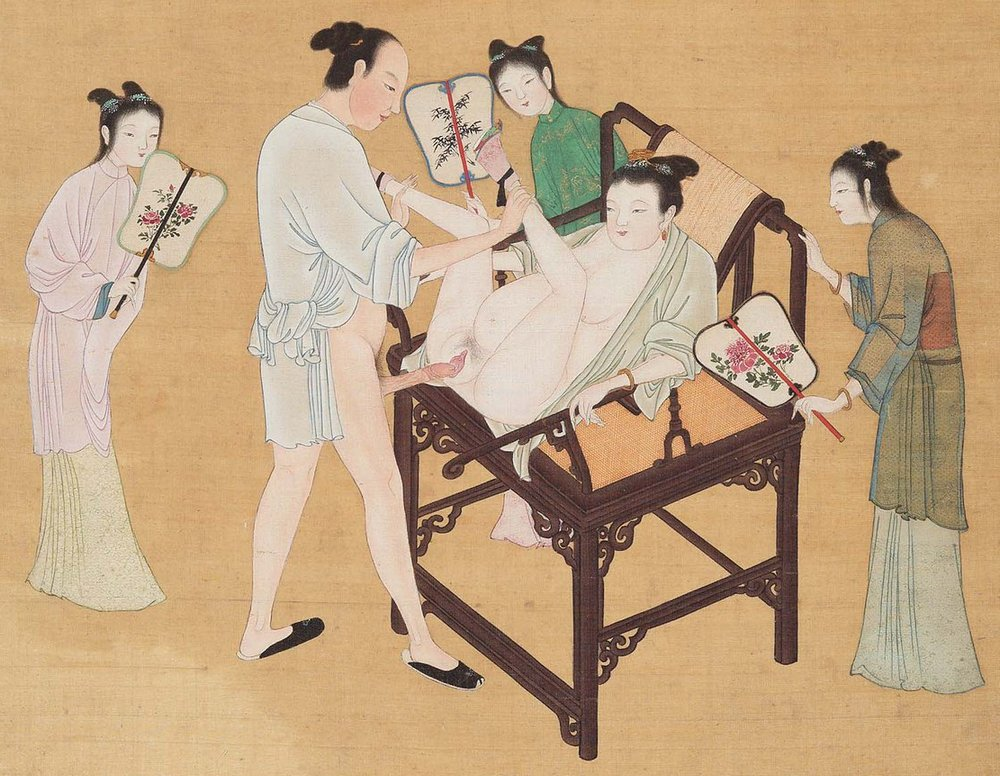 comfy ancient chinese sex chair couch and three servants with fans to keep things cool and comfortable