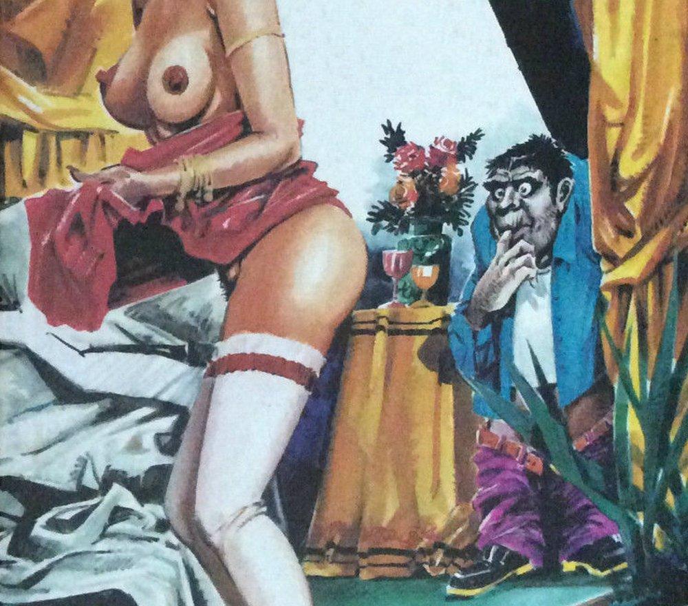 creepy voyeur sucks his fingers as he watches a woman undress