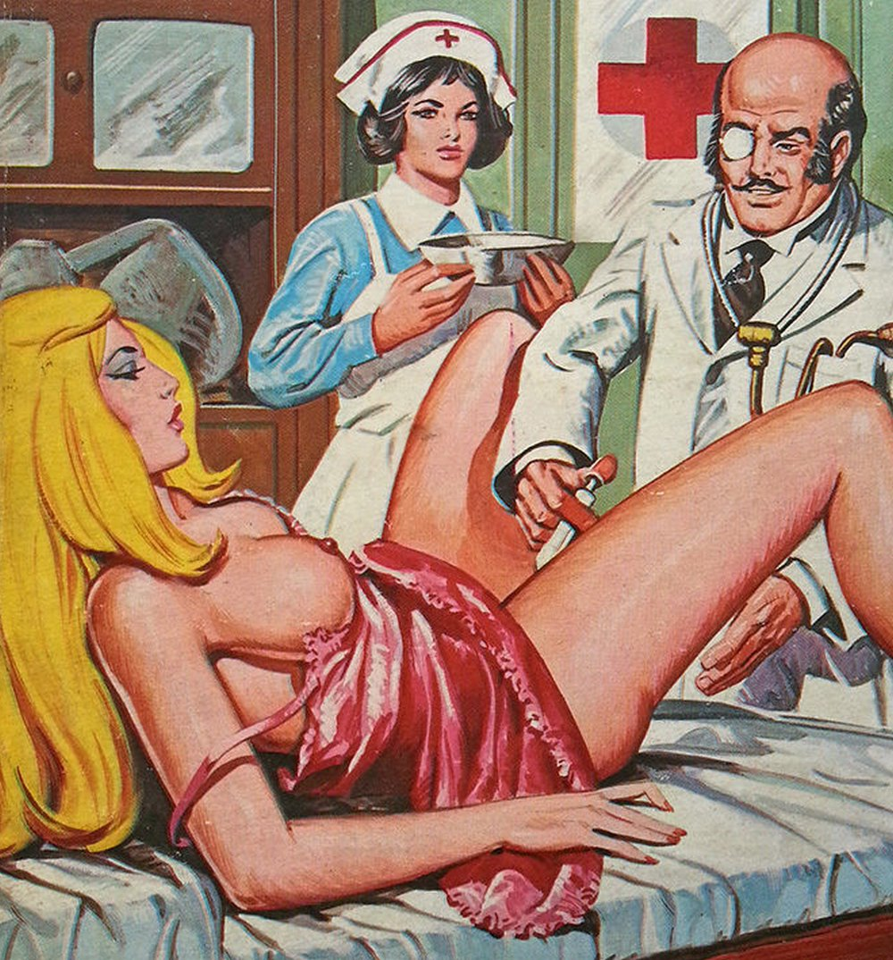 blonde from Jacula fumetti getting an ob/gyn exam or treatment