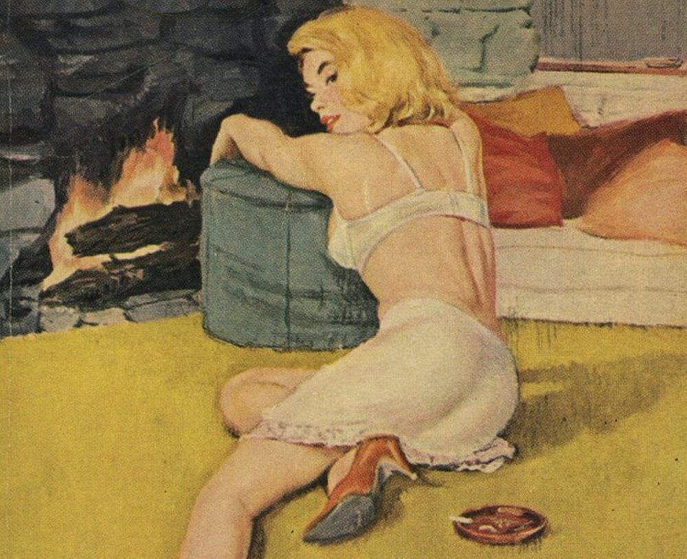 woman impatient to be fucked poses in front of a fireplace on a carefully chosen hassock