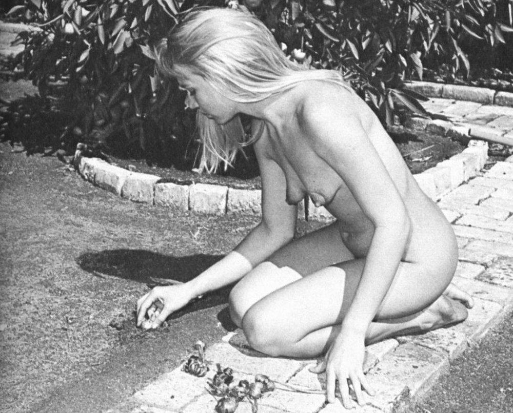 nude gardener at a nudist or naturis
