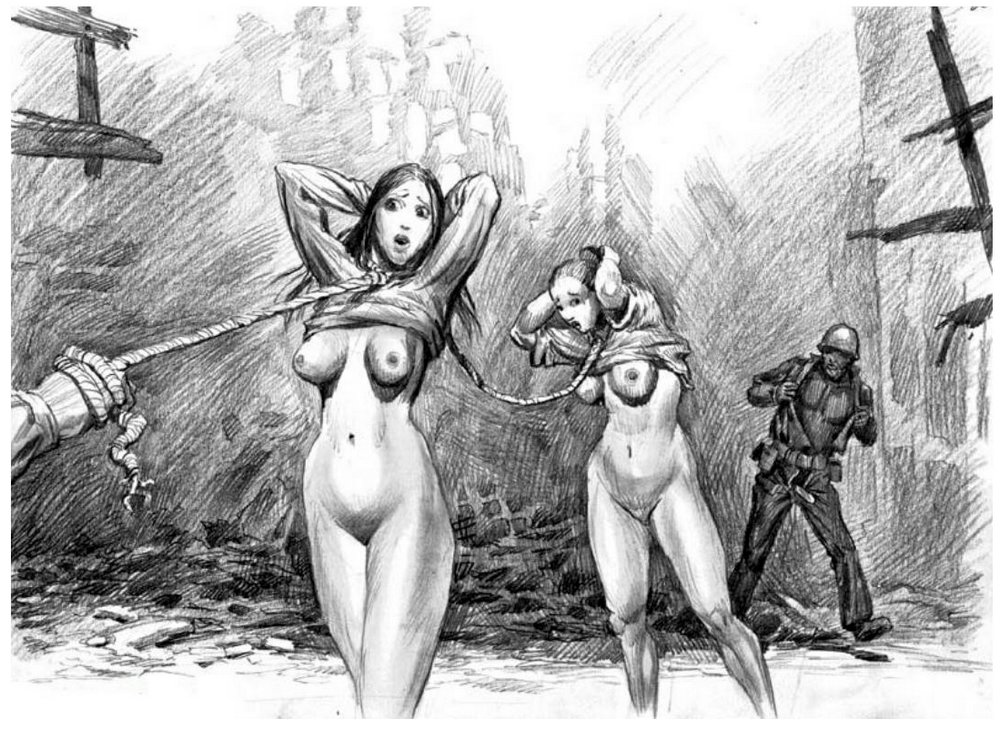 soldiers leading naked sex slave prisoners in a bombed out city