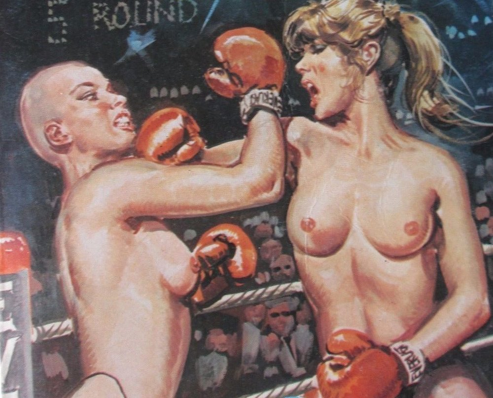 nude women boxing bald woman