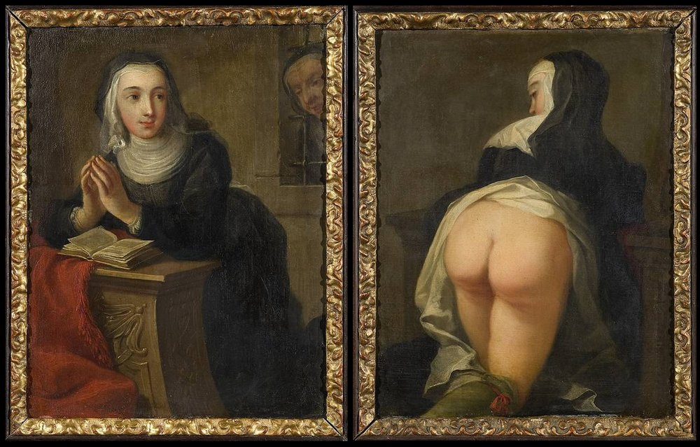 nun with bare bottom for religious discipline