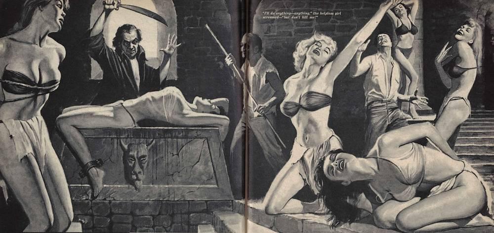 Girls in bondage to be sacrificed. satanic sacrifice altar.