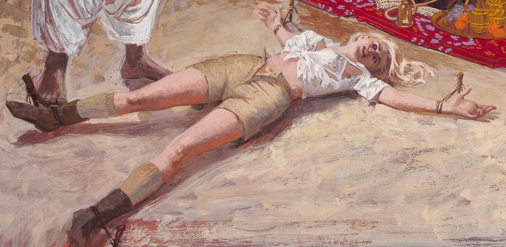 woman spread-eagled on the sand floor of an arab tent