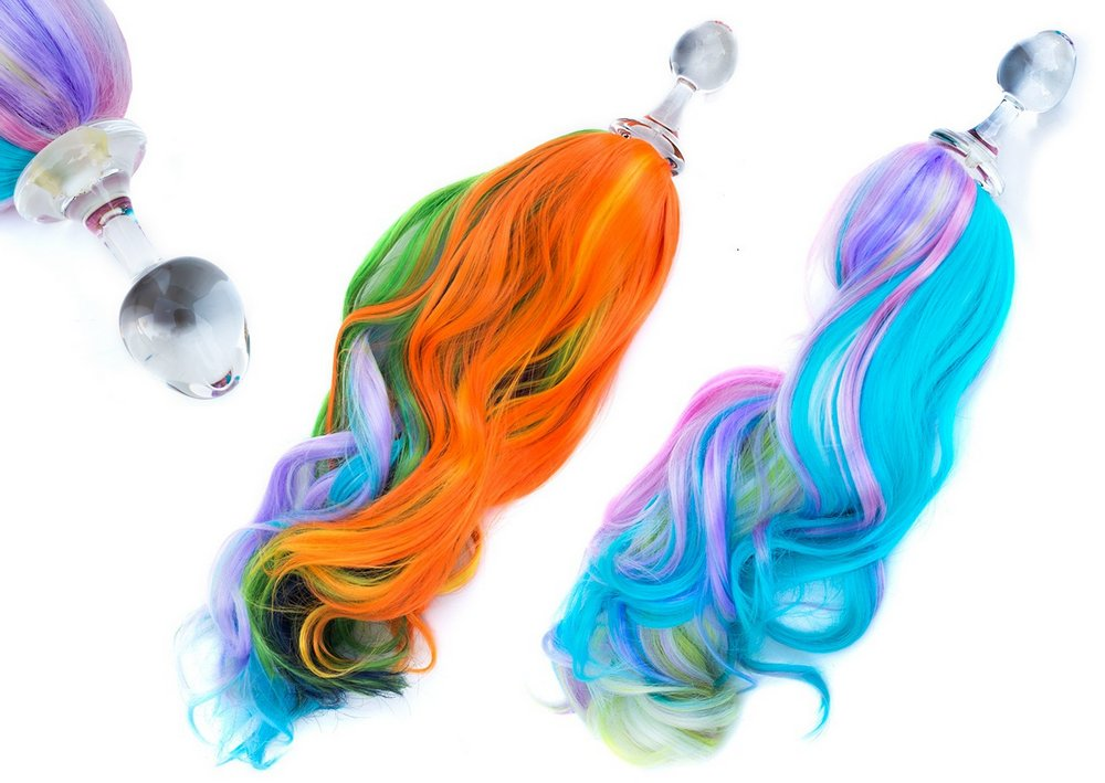 pony tails glass buttplug with rainbow tail colors