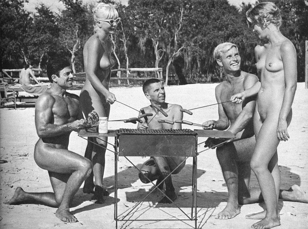 Nudist family picnic nude