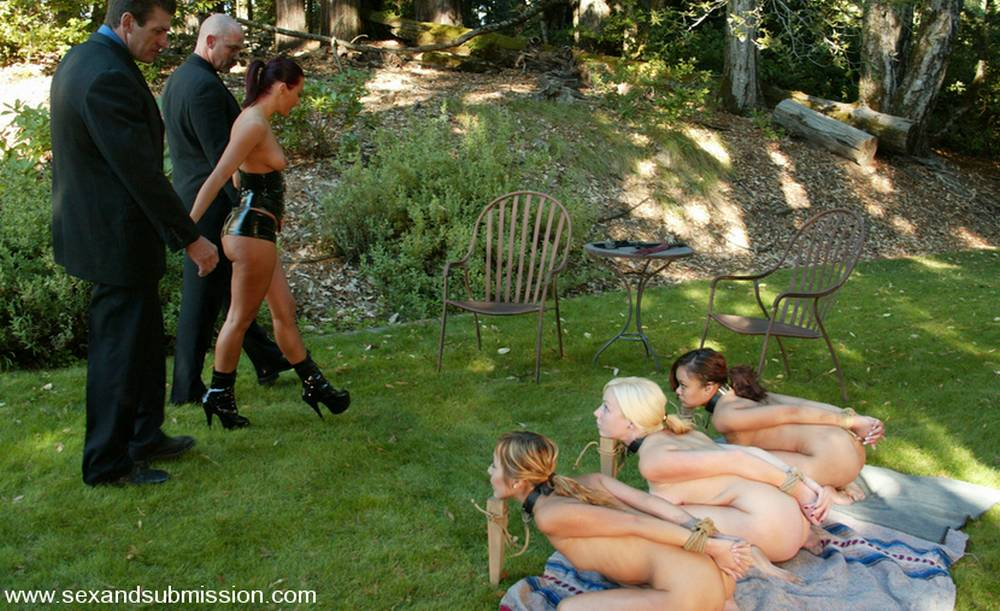 three slavegirls staked out for a slave picnic