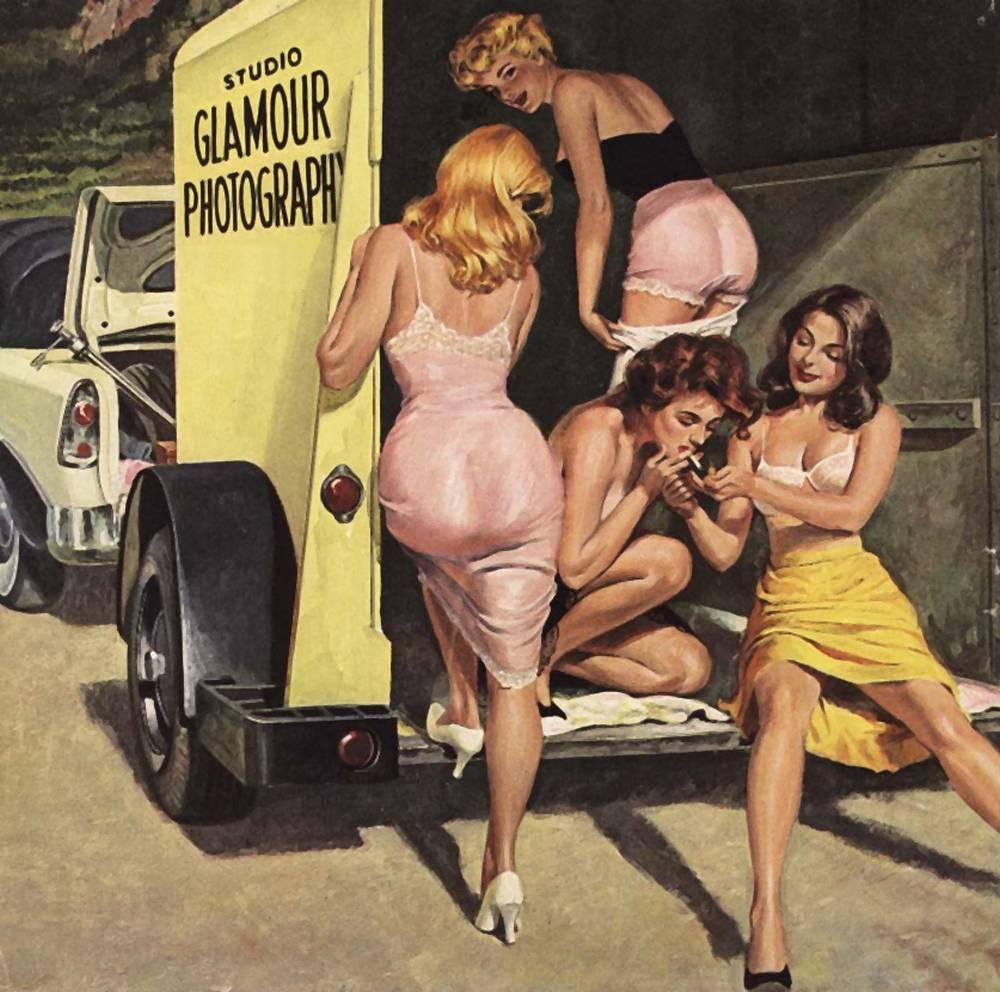 lingerie girls smoking