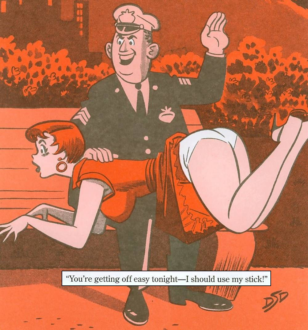policeman gives a spanking