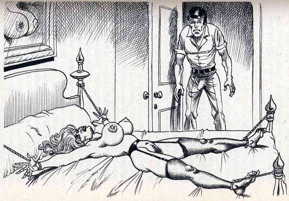 spread-eagled in bondage and waiting to be raped by her husband