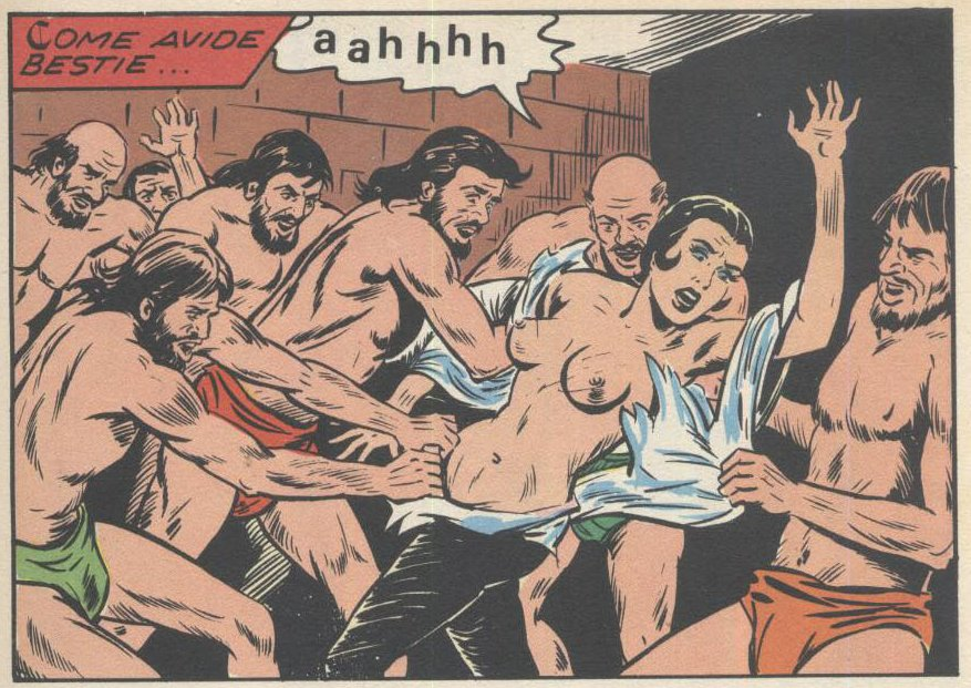 fumetti panel of woman being stripped by seven prisoners for a gangbang