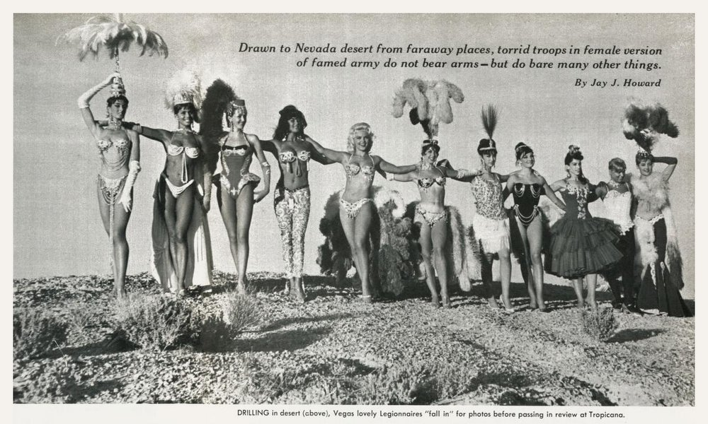 Showgirls from the Tropicana practice in the Las Vegas desert