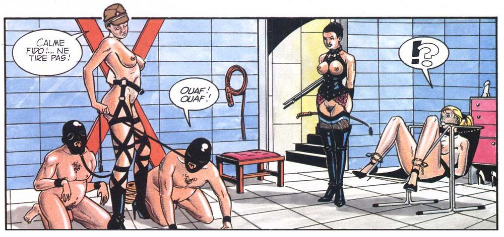 dominatrix and her dogs