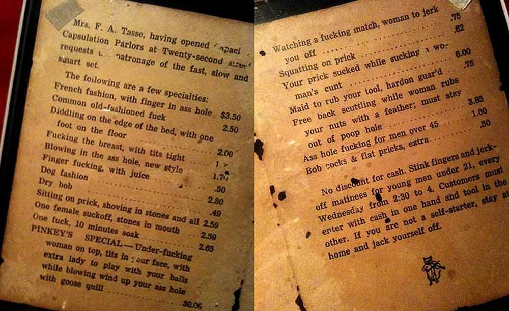 sex menu